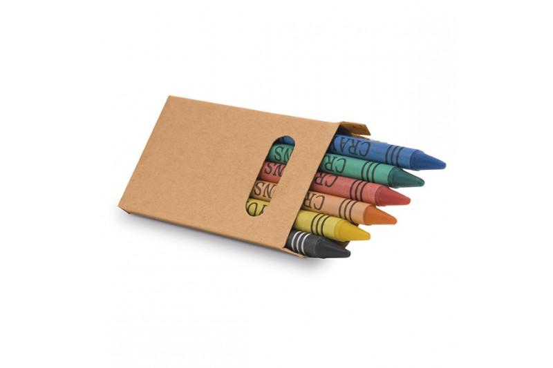 Boîte avec 6 crayons de cire
